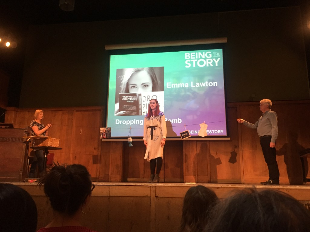 Emma Lawton, who has Parkinson's, on stage at Being The Story 2016