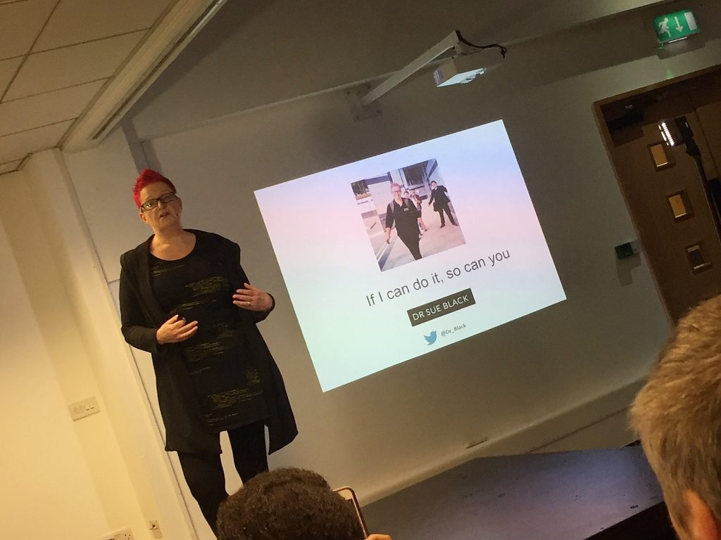 Dr Sue Black OBE speaking at the Social Media Exchange